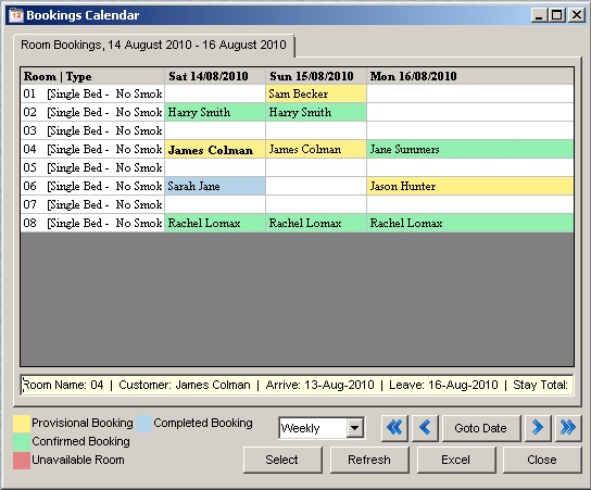 Hotel Booking Software - Bookings Calendar
